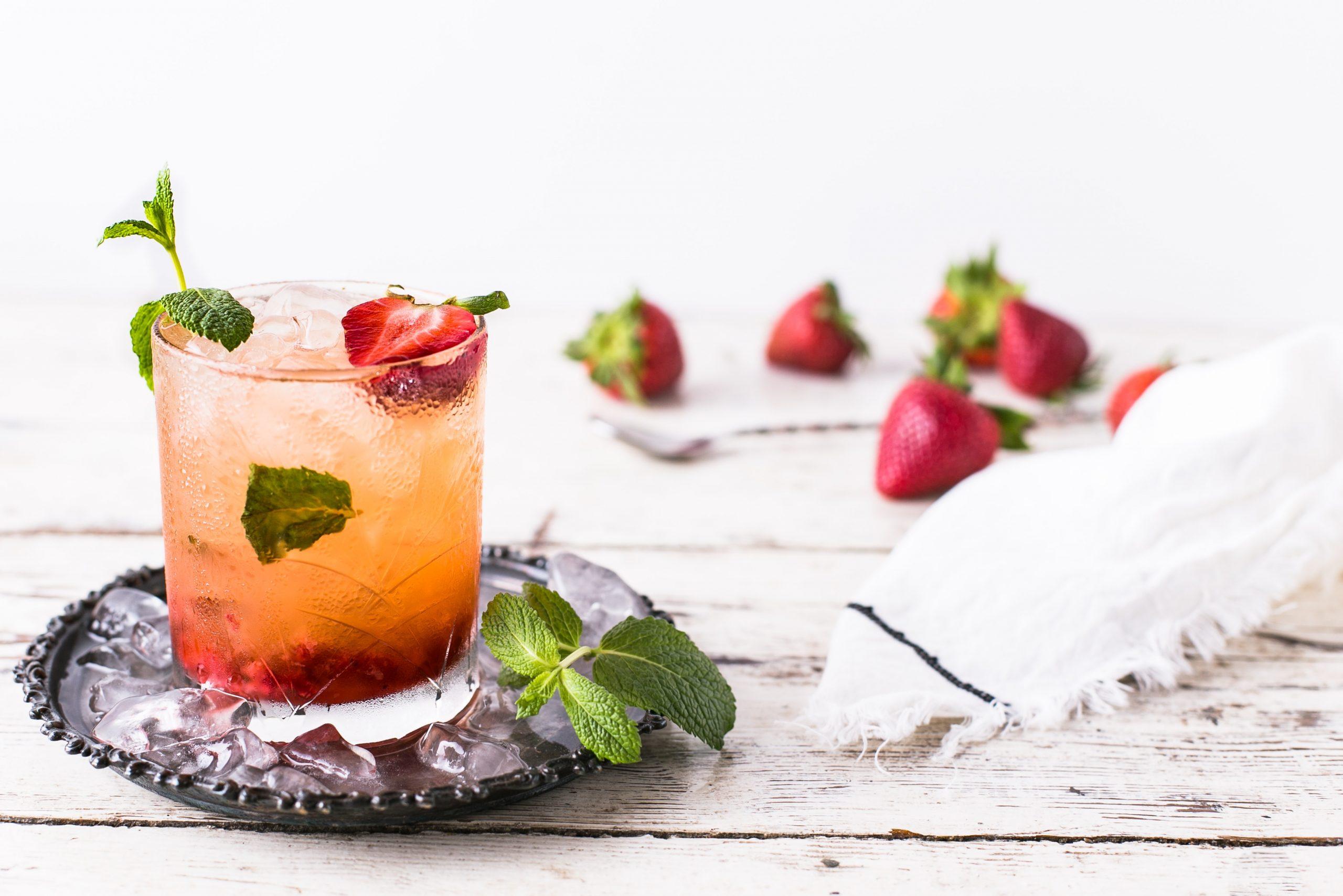 Bourbon Strawberry Basil Smash