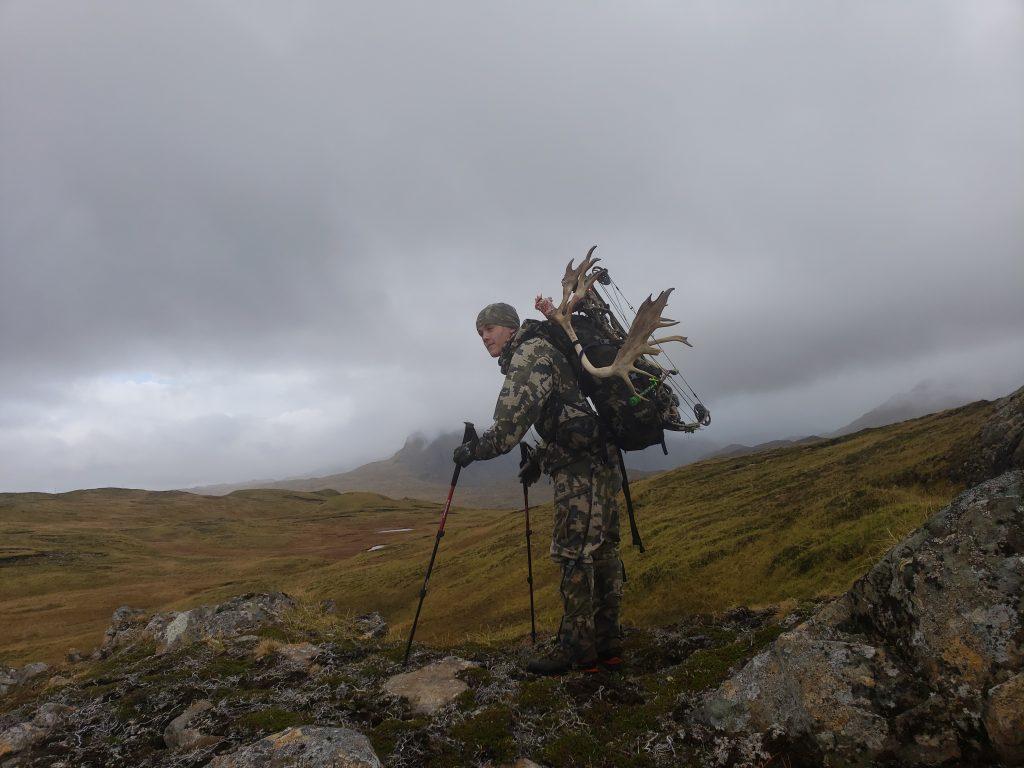 Hiking in rough terrain.